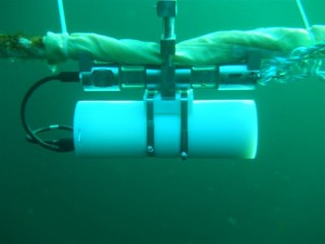 Subsea mooring line tension logging (Subsea Tension Loggers). STL 150 shown at fish farm.